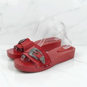 Free People Red Wooden Clogs Slides Buckle 11